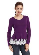 Vin Beauty Women's Long Sleeve Splicing Lace Fashion Causal Crewneck Slim Top Blouses