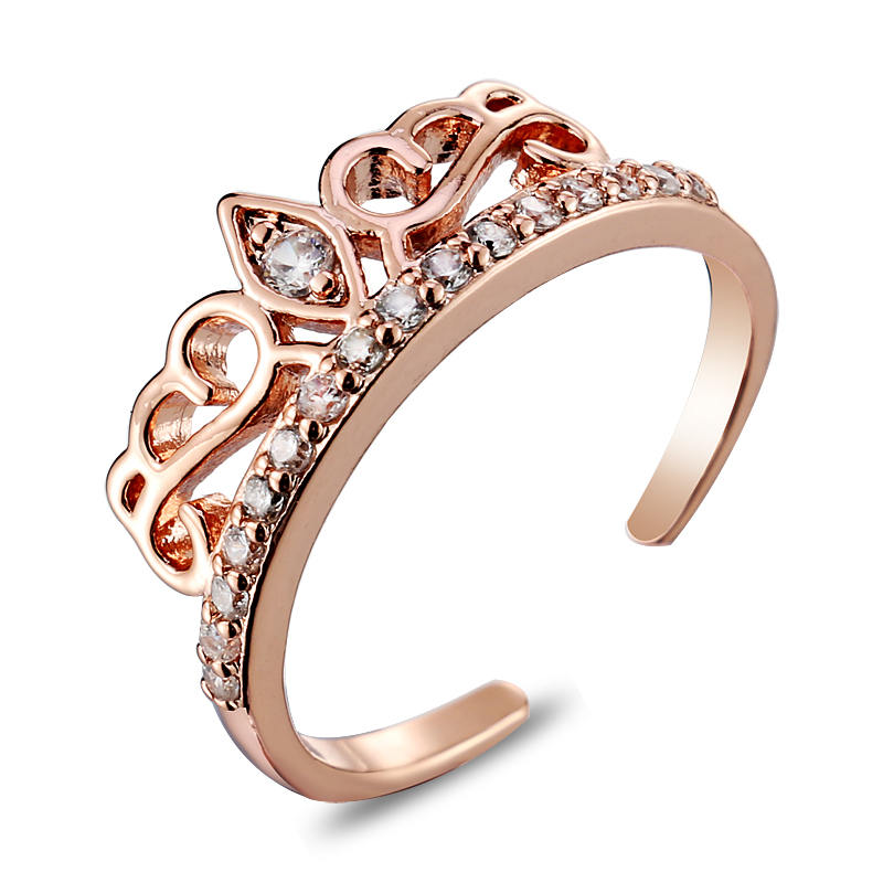 Exquisite Princess Queen Crown Wedding Ring 18k Rose Gold Plated CZ Diamond Rings Women fashion Jewelry - arno jewelry store