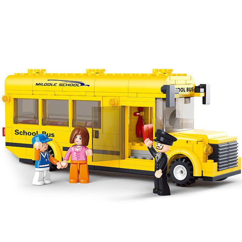 New Original Sluban 0507 School Bus Building Blocks 218pcs/set Mini Car Model Building bricks Toys Compatible with Lego(China (Mainland))