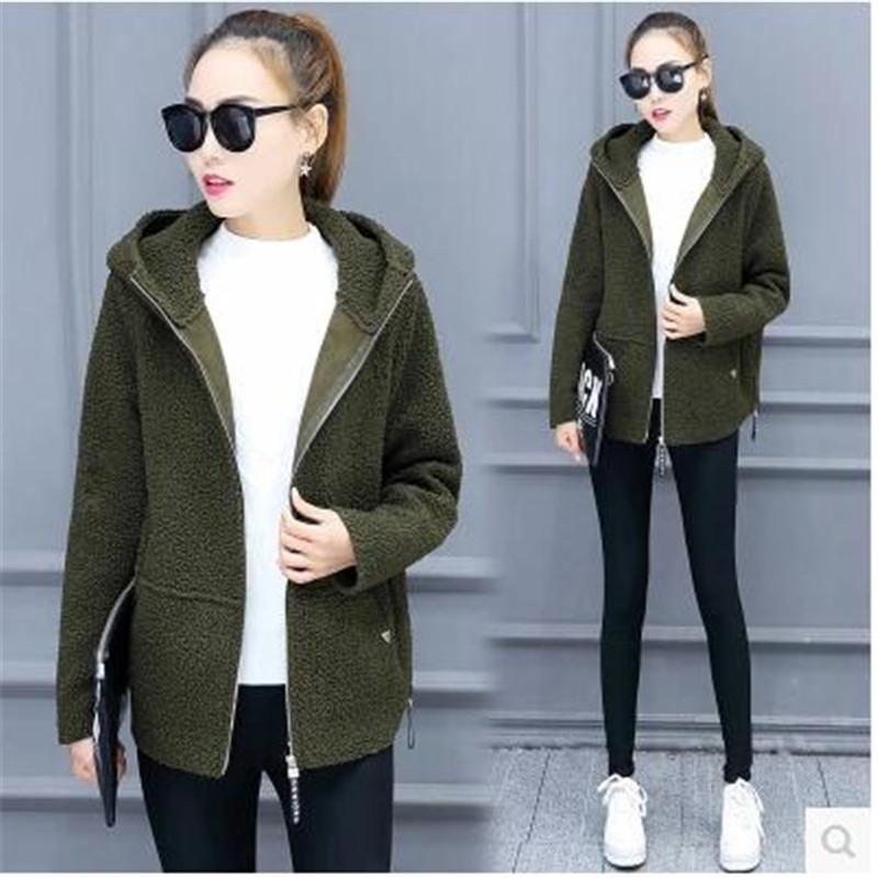 2017 Qiu dong female coat High quality ladies' Han edition of fashion Hooded loose long-sleeved lambs wool coat BN45(China (Mainland))