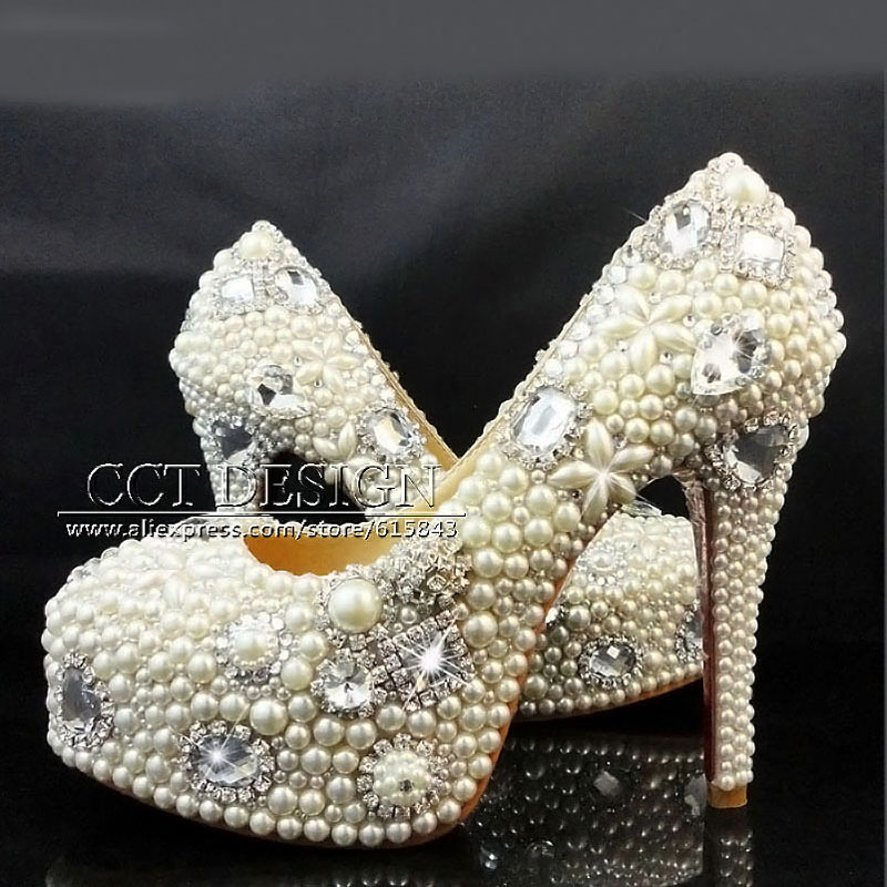 Wedding Shoes Women Luxury Rhinestones And White Pearl High Heels Plataforma Bridal Shoes Party Prom Dress Shoes zapatos mujer<br><br>Aliexpress