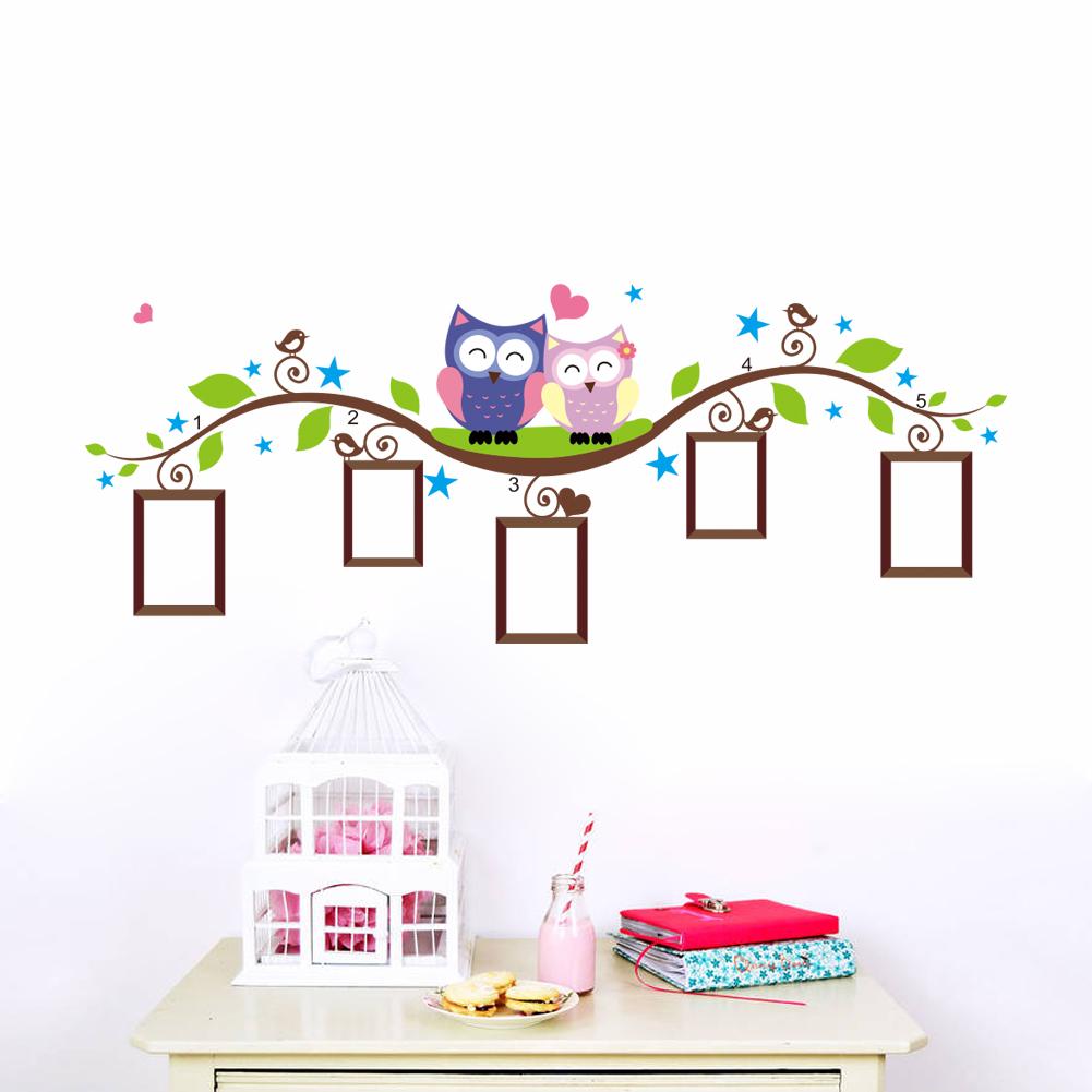 Corujas photo frame adesivos de parede decoração bedrrom animais decalques mural art sala de estar flor dos desenhos animados videira zooyoo1021(China (Mainland))