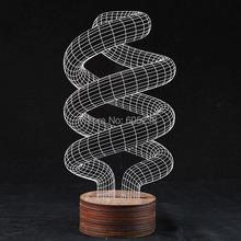 1Piece 3D Spiral Lamp Lighting 3D Wood Mood Lamp Bulbing Light(China (Mainland))