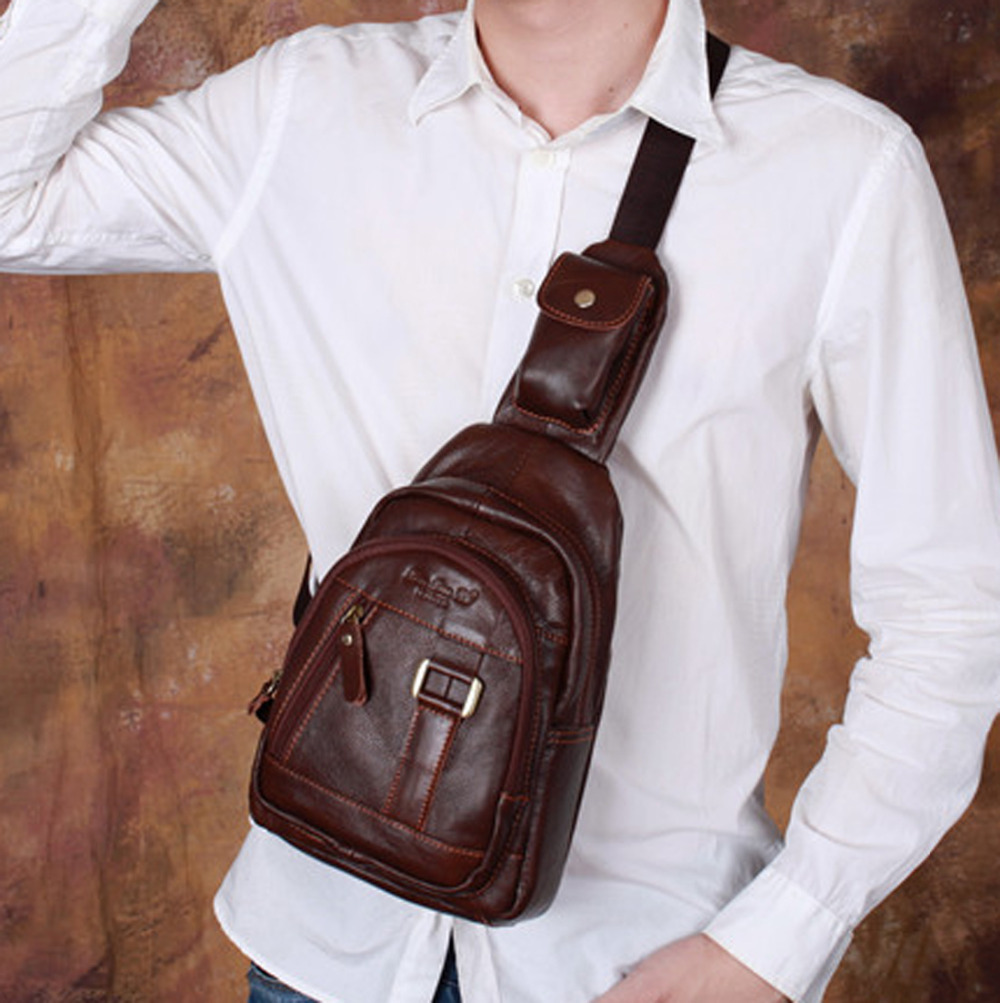 New Men Genuine Leather Cowhide Vintage Messenger Shoulder Cross Body Travel Hiking Climbing Retro Fashion Chest Bag Day Pack<br><br>Aliexpress