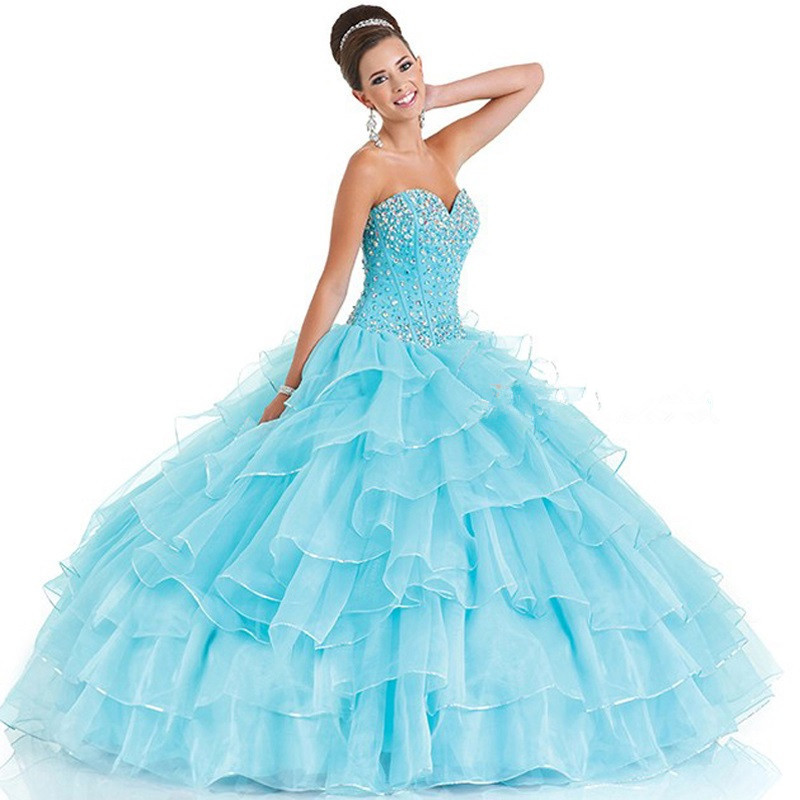 2016 Hot Sale Quinceanera dresses Sweetheart Ruffled Cheap Quinceanera Gowns Sleeveless Floor Length Beading Sweet 16 Dresses(China (Mainland))