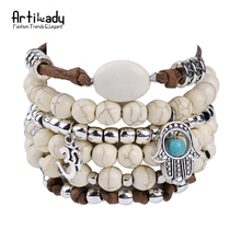 Artilady white turquoise multi layer bracelet bangles vintage hand jewelry leather bangles women for party jewlery(China (Mainland))