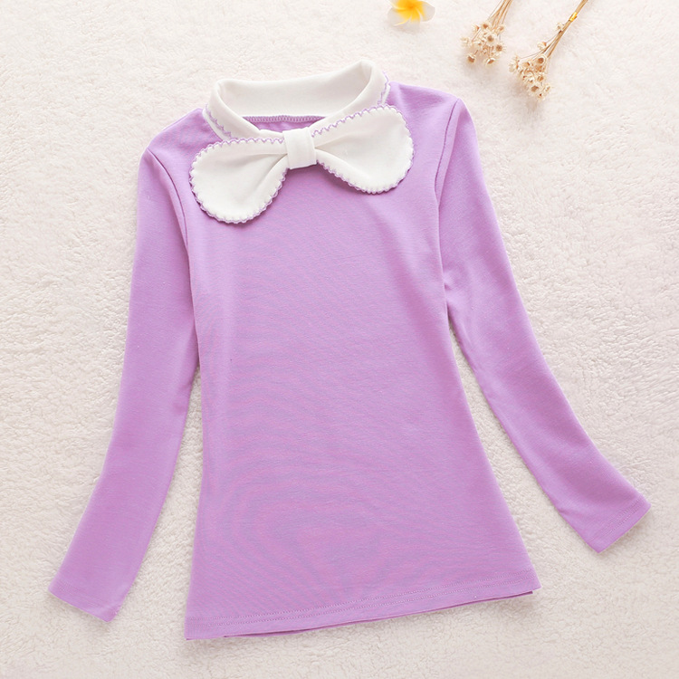2016 Bowknot Collar Shirt Bottoming Fashion Girls Cotton Blouses Warm Solid Long Sleeved School Shirts Autumn Children Clothing