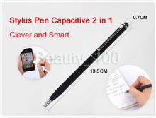 Hot Sale!Universal 2 in 1 Capacitive Touch Screen Stylus+ Ball Point Pen For Iphone Ipad Tablet Pc Samsung Free Shipping 4000pcs