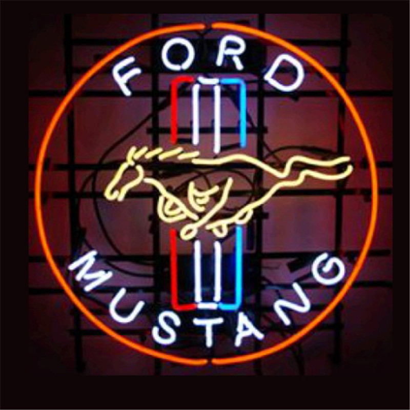 "17*14"" FORD MUSTANG NEON SIGN Signboard REAL GLASS BEER BAR PUB Billiards display Restaurant Shop outdoor Light Signs(China (Mainland))"