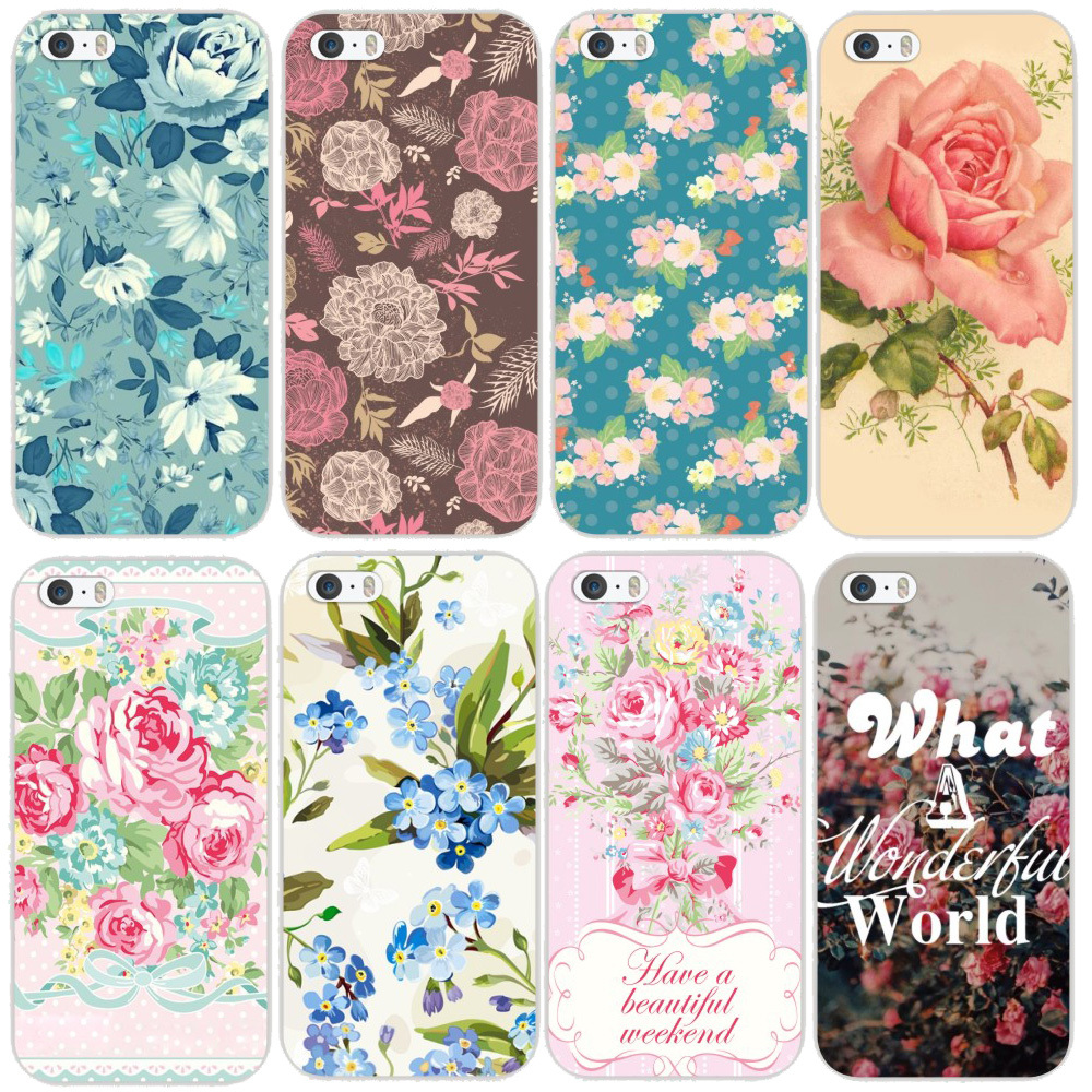 spring color Beautiful Flower Design Painted Hard Black Cover Cases Fit iPhone 6 Floral Phone Housing MCB095 - xycharm store
