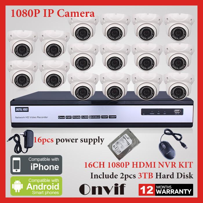 6TB HDD 16CH Onvif H.264 NVR Network Video Surveillance System 1080P 2MP HD 48 IR Mini Dome Home Security CCTV IP Camera(China (Mainland))