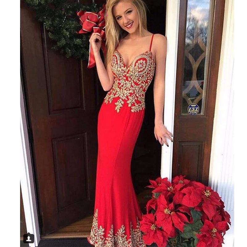 2017-Christmas-Red-Color-Mermaid-Evening-Dresses-Sexy-Deep-V-Neck-Spaghetti-Strap-Women-s-Evening