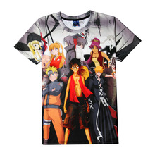Anime Heros Collection naruto bleach one piece fairy tail 3D Print T-shirt Cotton Unisex Summer Tee Shirts Teen Loose Homme Tops
