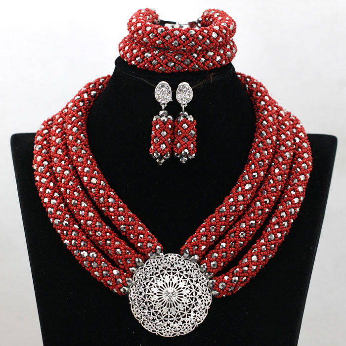 Latest Wine Red Seed Beads African Costume Jewelry Set 3 Layers Silver Crystal Chunky Necklace Set Free Shipping WA770(China (Mainland))