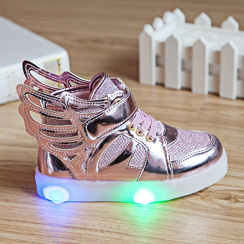 2016 New Children Shoes Fashion Wings Boys Girls Sneaker Luminous Children Flash Kids Led Lighting Child Casual Shoes