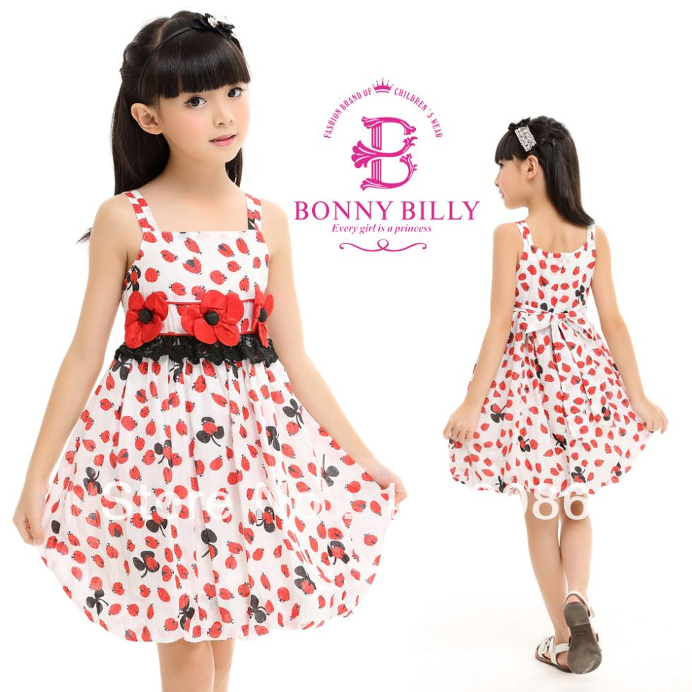 Classic style Bonny billy is_customized children summer dress, red flower teen girls dress for 3-10 years(China (Mainland))