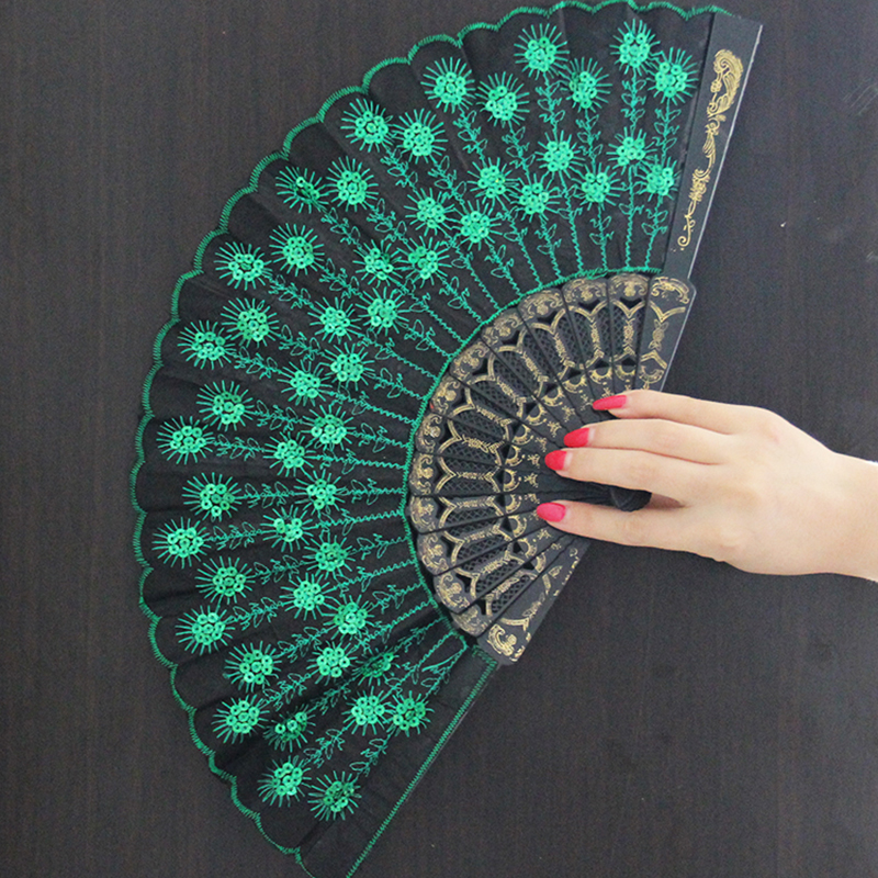 23cm Colorful embroidery peacock tails designed nylon and plastic hand foldable fans/ dance hand fans FREE SHIPPING GYS906(China (Mainland))