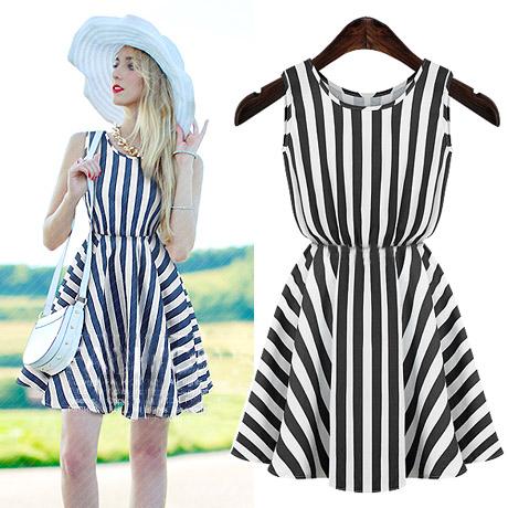2014 o-neck classic stripe sleeveless slim waist vest one-piece dress expansion bottom cool(China (Mainland))