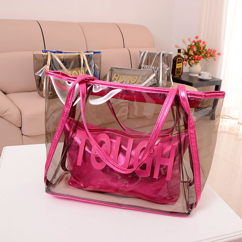 Hot Vintage Europe Fashion Women Clear Transparent Handbag Sweet Jelly Beach Bag Candy Colors Shoulder Bags Tote bag(China (Mainland))