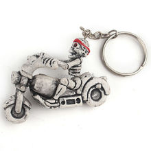 Clearance Sale 1Pc Motorcycle Bicycle Skull Charms Keychains Vintage Skeleton Key Ring Keyfob Jewelry Creative