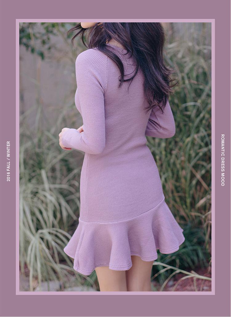 ที่มีคุณภาพสูงใหม่ฤดูใบไม้ร่วงและฤดูหนาวเกาหลีหวานแฟชั่นใบบัวแพคเกจชุดOlสะโพกขนสัตว์ถักผู้หญิงชุด ถูก