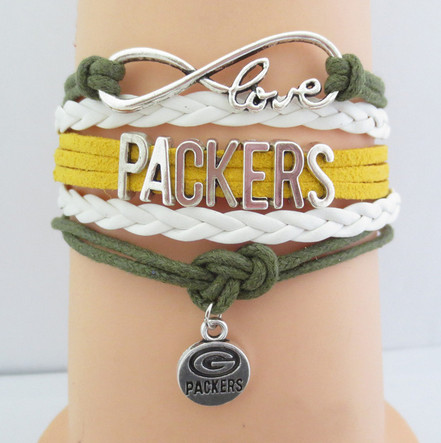 5pcs/lot Infinity Love NFL Green Bay Packers Football Team Bracelet Green Gold White Custom Sports Bracelet Drop Shipping(China (Mainland))