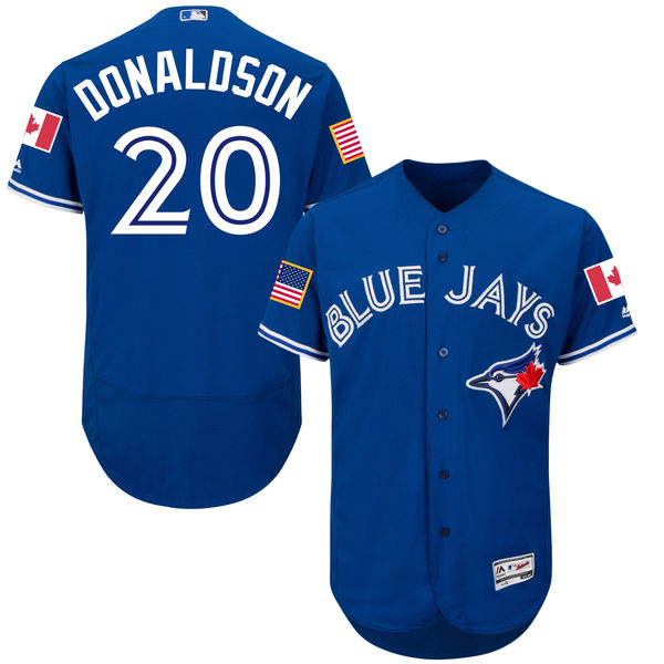 Josh Donaldson Toronto Blue Jays 2016 MLB Authentic Fashion Stars & Stripes Flex Base Jersey - Royal Baseball Jerseys(China (Mainland))
