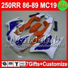 7gifts Blue white HONDA CBR250RR 1986 1987 1988 1989 CBR 250RR MC19 86 87 88 89 QC212 CBR250 RR 86-89 blue orange Fairing - Motoclub store
