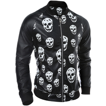 Size M-2XL Red PU Men's Faux Leather Jacket Mens Jackets and Coats Spring Autumn Skull Zippers Long Sleeve Motorcycle Coat(China (Mainland))