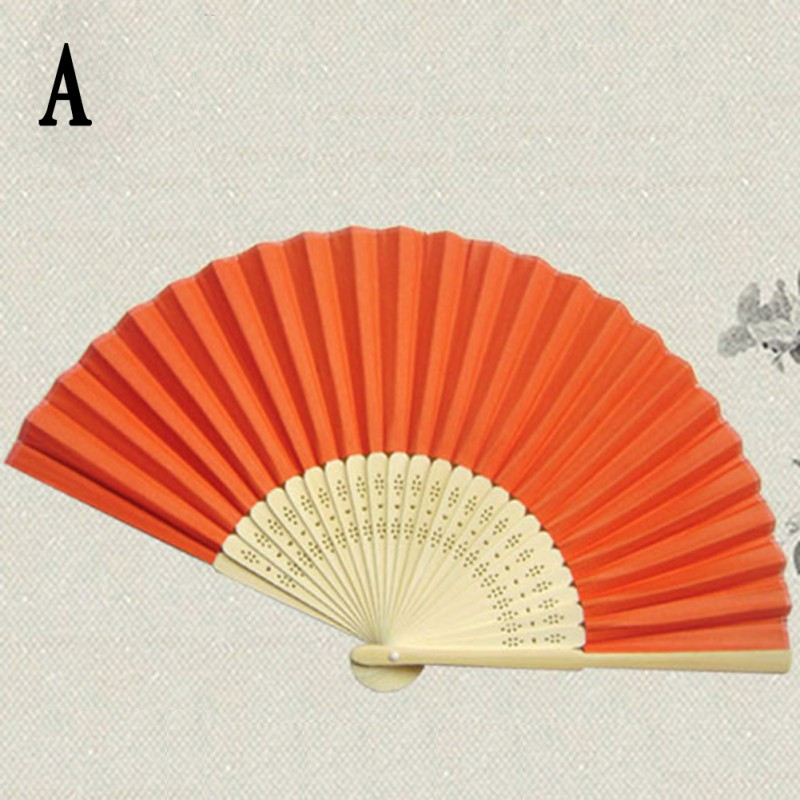 Summer Chinese Hand Paper Fans Pocket Folding Bamboo Fan Wedding Party Favor 17 Colors(China (Mainland))