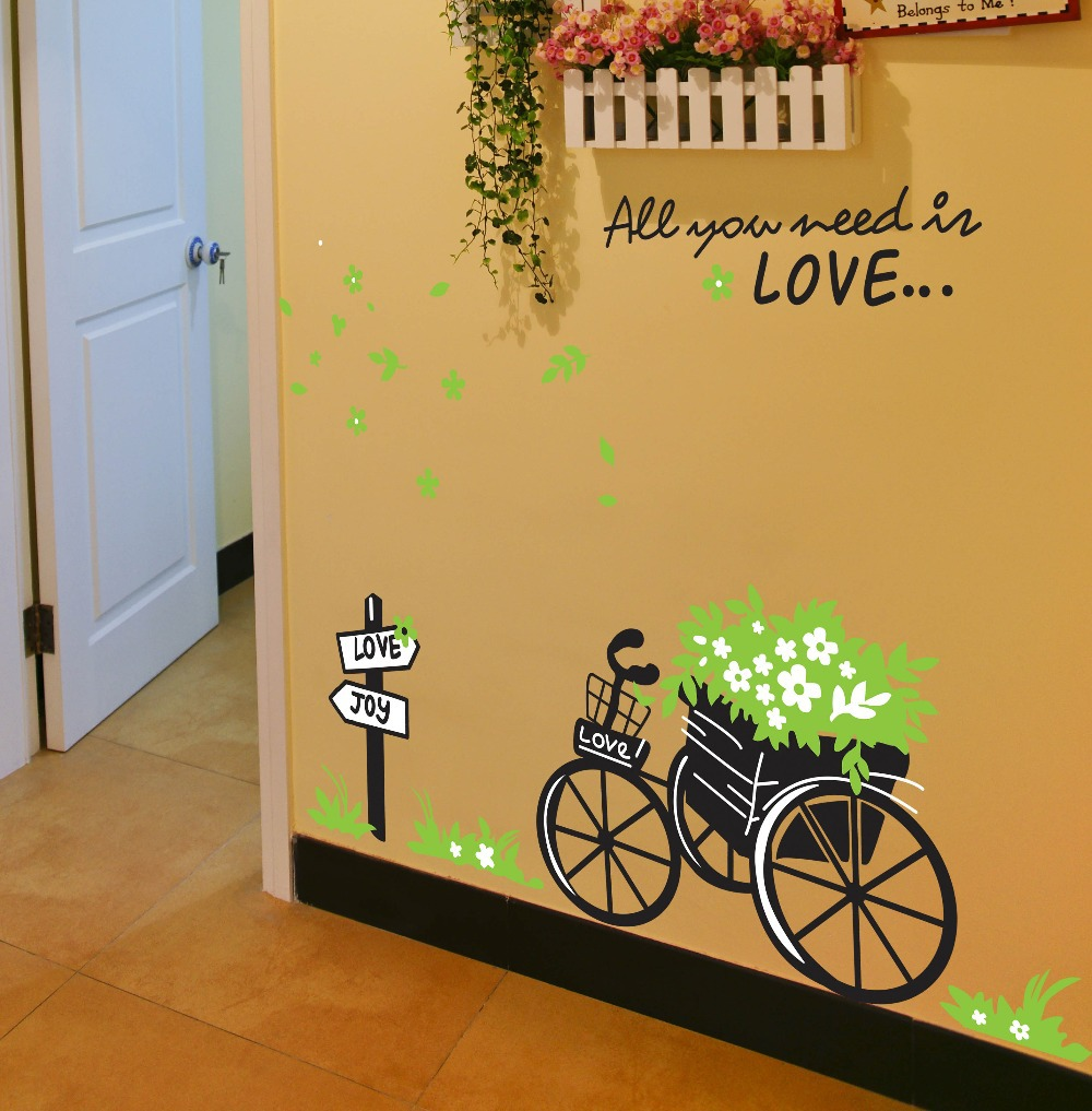 All you need is love quotes bike 3d wall stickers decals 722 Living Room Decoration Art wall stickers(China (Mainland))