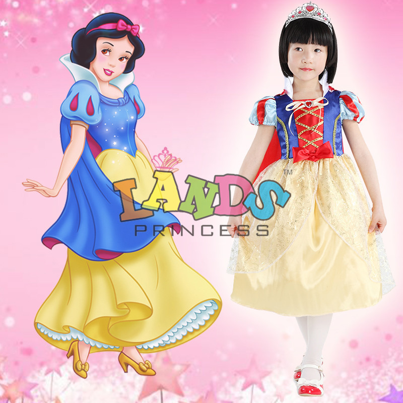 Free Shipping Girl Snow White Princess Dress kids Performance Dresses Cartoon Dress Party Dresses(China (Mainland))