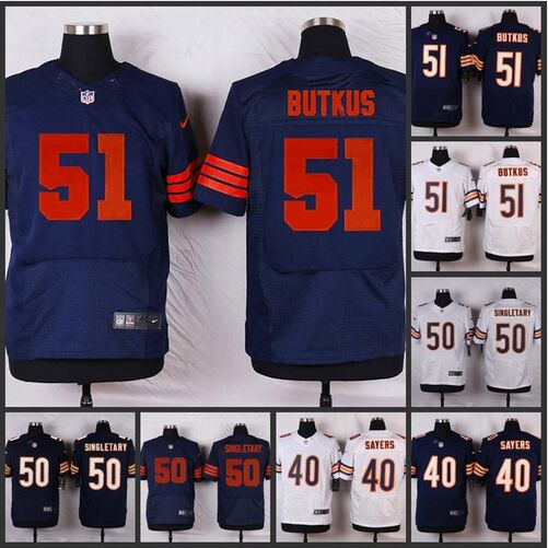 HOT Elite men Chicago Bears 51 Dick Butkus 50 Mike Singletary 40 Gale Sayers 34 Walter Payton 33 Jeremy Langford D-4(China (Mainland))