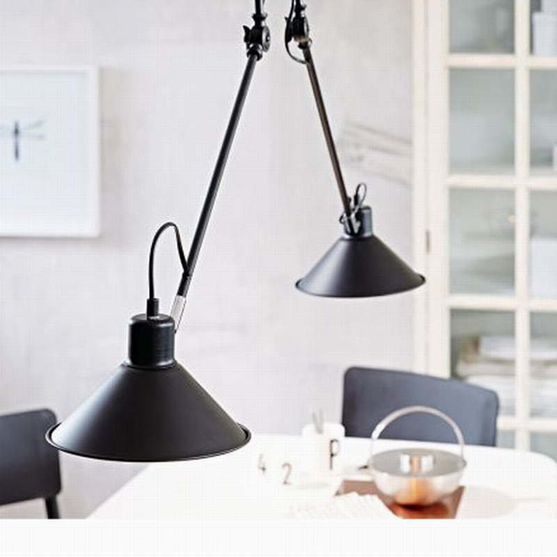 2016 New design Retro black fashion swing arm double heads led ceiling lamp Kitchen lighting Fixture luminaire For dining room(China (Mainland))