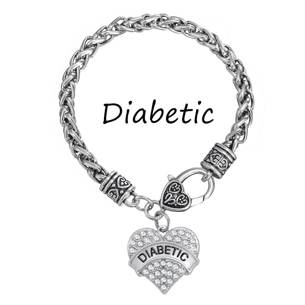 Silver Tone DIABETIC Awareness Bracelet Crystal Heart Charm Braided Bracelets Medical Alert Jewelry Women Jewelry Fashion 2016(China (Mainland))
