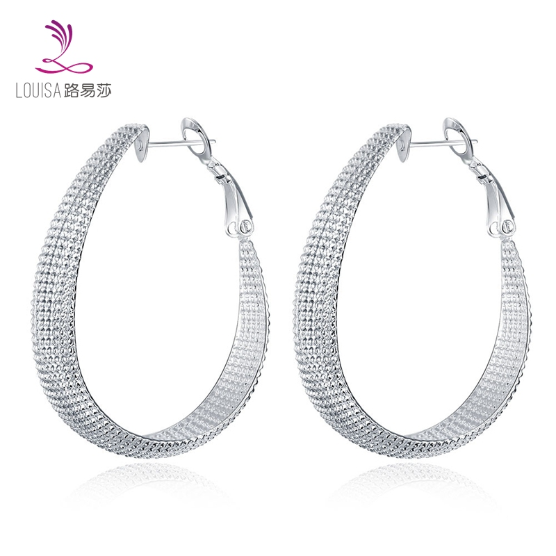 2016 promotion silver round earrings FashionTennis/web/net shape earrings lady woman silver earring hoop Oval LF-10028(China (Mainland))