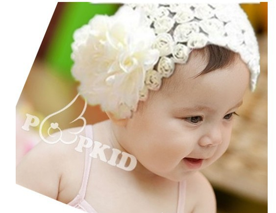 3 colors baby headband ROSE Flower Hair Bow Crochet Headband Infant Toddler baby Hair Accessories gift free shipping FD003(China (Mainland))