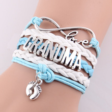 Best gift Infinity love mom & grandma heart feet love wins Rope charm Bracelets for women Wrap Leather bracelets bangles(China (Mainland))