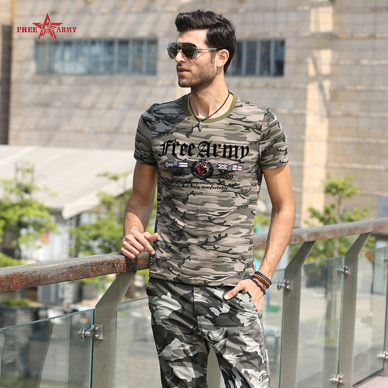 Hot Sell Fashion Summer Style t-shirt men Short Sleeve Cotton Flag and Letter Printing Camouflage tee shirt homme MS-6307B Z35(China (Mainland))