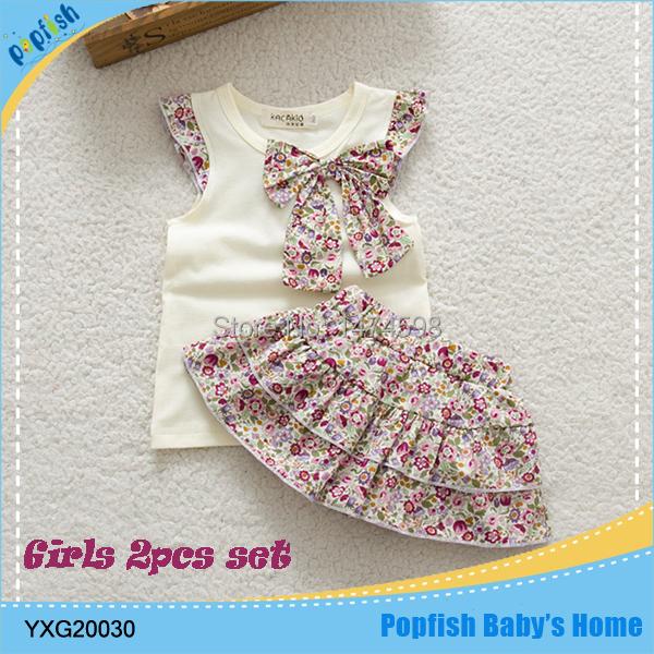 2015 Summer New Children Girl's Skirt Suit Baby Clothing Sets Dots Skirt Flower Skirt Girls Clothes Princess SkirtRetail(China (Mainland))