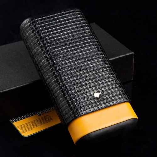 COHIBA Black&Yellow Leather Cedar Wood Lined 3 Tube Cigar Travel Case(China (Mainland))