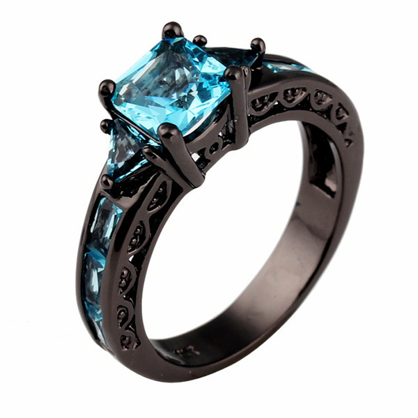 Size 5 11 Clical Jewelry Princess Cut Light Blue Wedding Ring 10kt Black Gold Filled Cz Women Vintage Engagement Rings Rb0071 Celeb