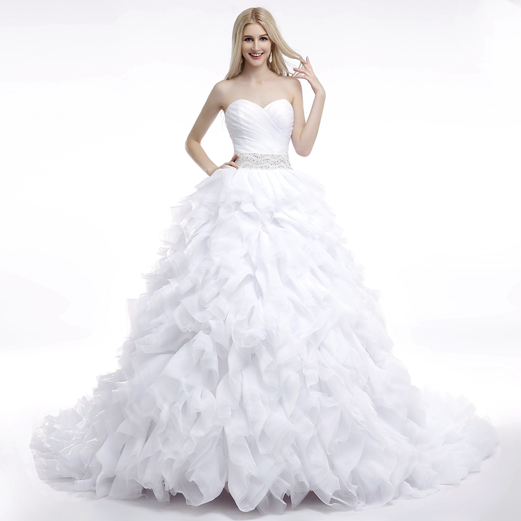 Vestido de novia 2016 real wedding dresses custom made for Cascading ruffles wedding dress