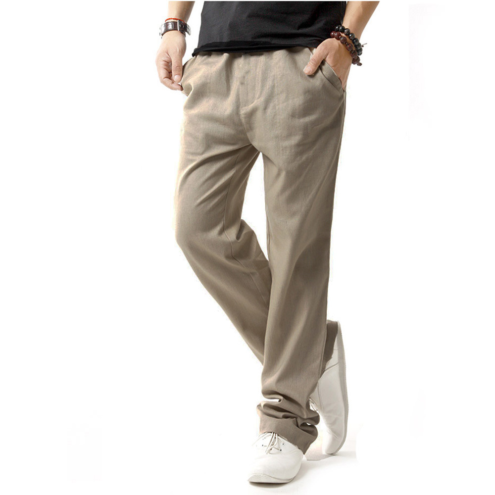 Mens Casual Linen Trousers Men Linen Material Casual