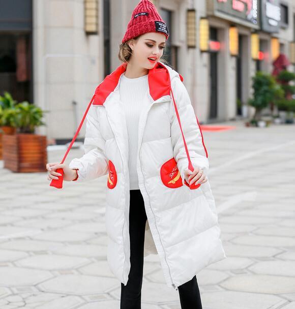 Скидки на 2016 новый зимний женщин вниз куртки хлопка моды лоскутное капюшоном paaded пальто и пиджаки T848