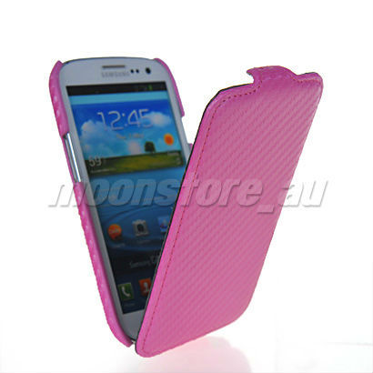 2013 new carbon fiber hard back case cover free shipping flipped I9300 GALAXY S3 pink