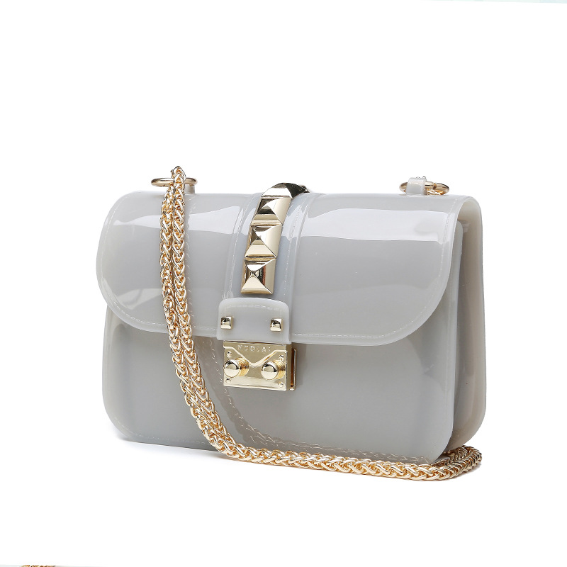2016 Summer Fashion Furly Candy Mini Chain Bag High Quality PVC Transparent Jelly Beach Bags Rivet Valentine Crossbody Bags(China (Mainland))