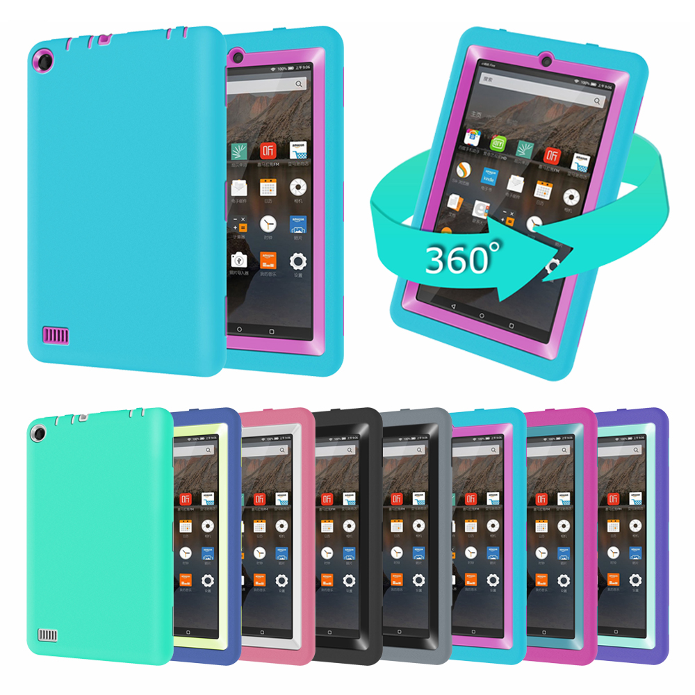 Kindle Fire 7 Case 2015 Kids Baby Safe Armor Shockproof Heavy Duty Silicone Hard Case Cover For Amazon Kindle Fire 7 Inch Tablet(China (Mainland))
