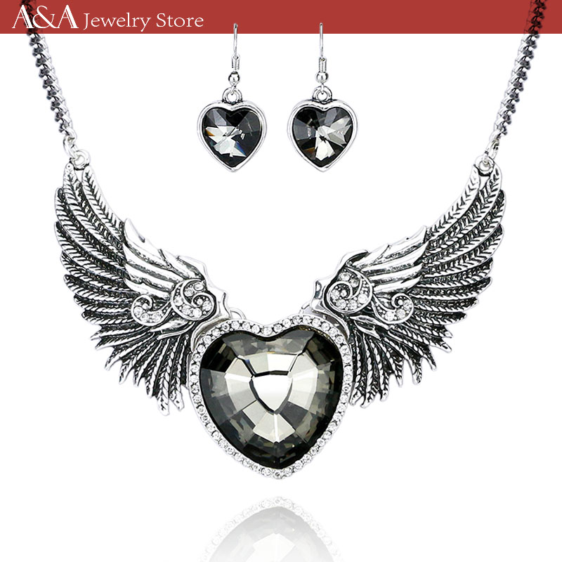 Heart Necklaces Wings Crystal Pendants Necklaces For Women Hot Sales Necklaces For Paryt Brand A&A Jewelry(China (Mainland))