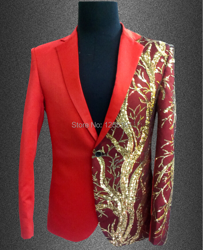 2015 men plus size red slim blazer Male singer dj gd paillette design costume suit top nightclub evening coat jacket dress